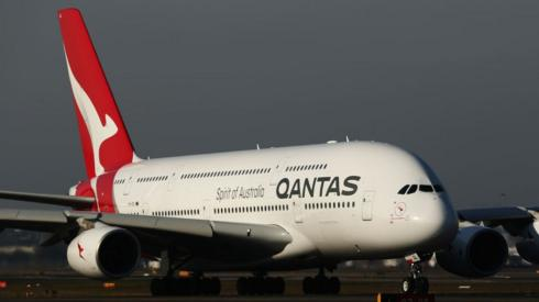 A Qantas A380 taxis at Sydney Airport priot to the 100 Year Gala Event.
