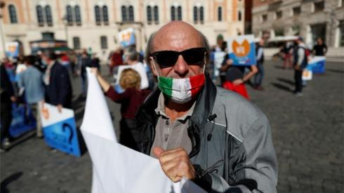 Italian protester against coronavirus measures