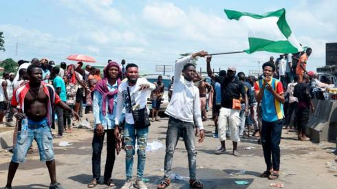 Demonstrators in Lagos