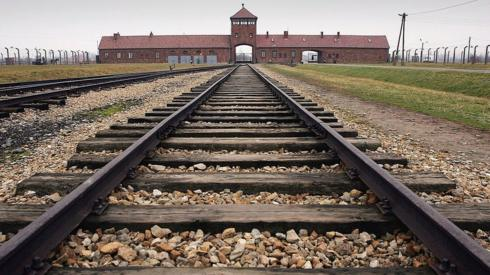 Railway outside Auschwitz concentration camp entrance