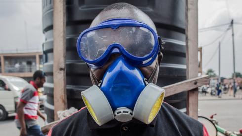 A health worker in Goma, in the Democratic Republic of Congo