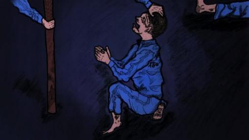 A drawing of a little boy begging