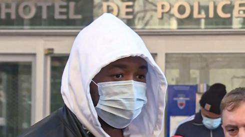 French music producer, identified only as Michel, talking to the media outside the IGPN (France's National Police General Inspectorate)