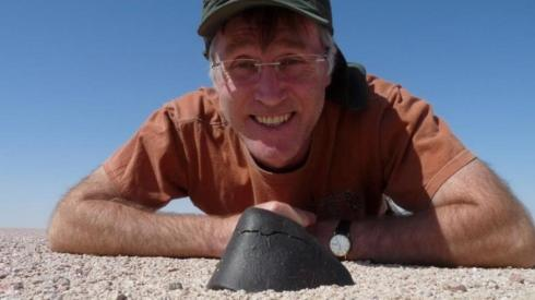 Graham Ensor with a piece of meteorite