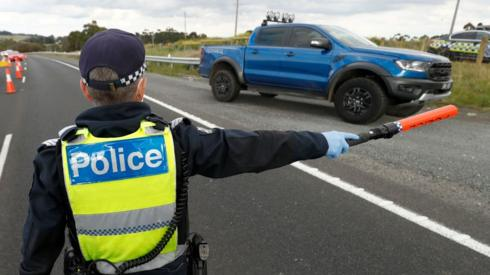 A police officer pulls over a car in Melbourne