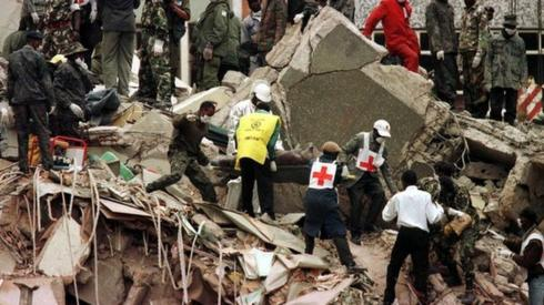 Rescue effort in the aftermath of the US embassy bombing in Nairobi, Kenya. Photo: August 1998