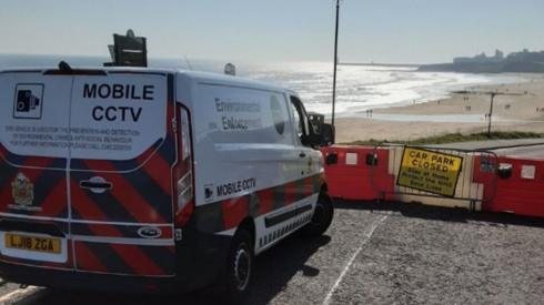 A North Tyneside Council van parked at Tynemouth beach