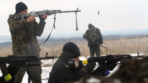 Ukrainian troops fighting in the Luhansk region, Jan 2015
