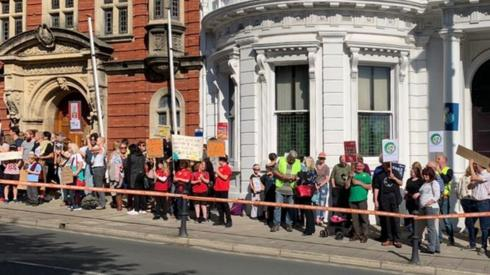 Protesters outside the Tynwald Buildings