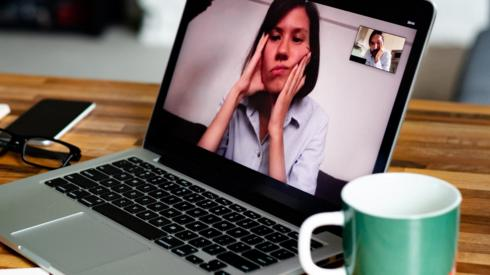 Woman on video call