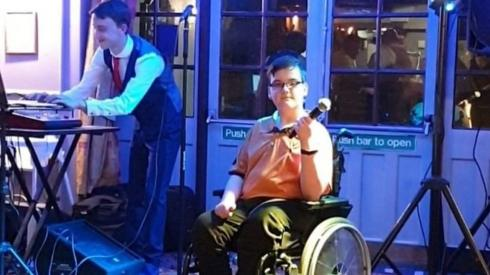 Ben at the pub with singer Sam