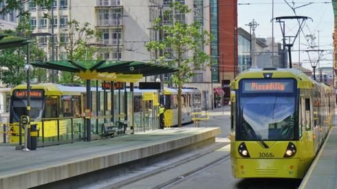 Metrolink trams at St Peter's Square, Manchester