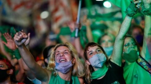 Demonstrators in favour of legalizing abortion attend a rally as the senate debates an abortion bill, in Buenos Aires, Argentina, December 30, 2020.