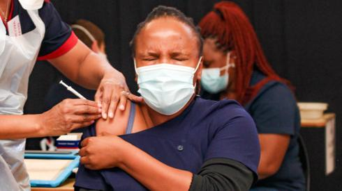 A woman getting vaccinated in Johannesburg, South Africa - March 2021