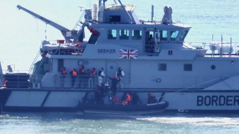 Border Force vessel intercaepting migrants