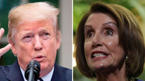 Donald Trump (L) and Nancy Pelosi