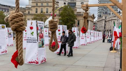 "An exhibition called ""Stop Execution in Iran"", in London's Trafalgar Square, on 10 October 2020"