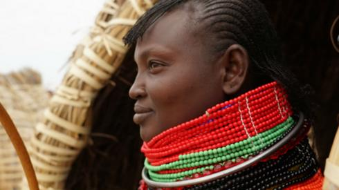 A beaded necklace worn by a woman in Lowdar, Kenya