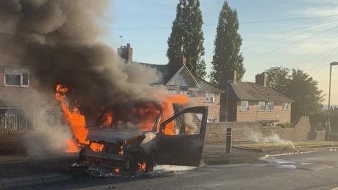 The van on fire