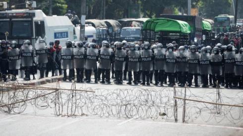 Police blockade in Yangon, Myanmar, 6 February 2021