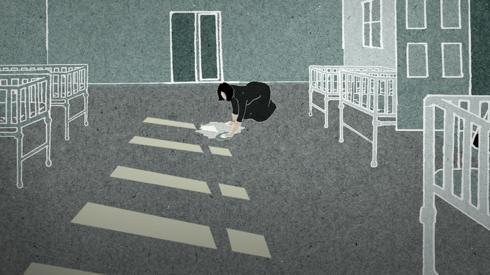 Illustration of woman scrubbing maternity ward
