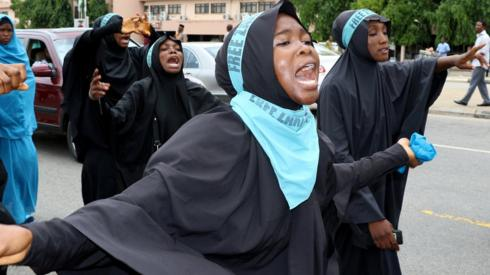 Shia IMN protesters chant slogans in Abuja in Nigeria, May 2018
