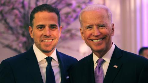 Hunter Biden (L) and then-US Vice President Joe Biden attend the World Food Program USA's Annual McGovern-Dole Leadership Award Ceremony in Washington on 12 April, 2016.