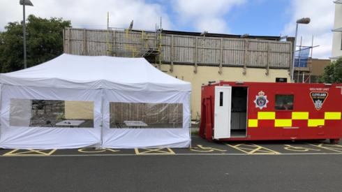 The mobile testing unit at Centuria South car park at Teesside University