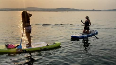 Paddle boarders watch a tuna