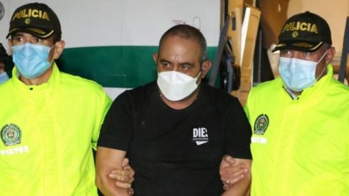 Colombian drug lord Otoniel pictured after his arrest