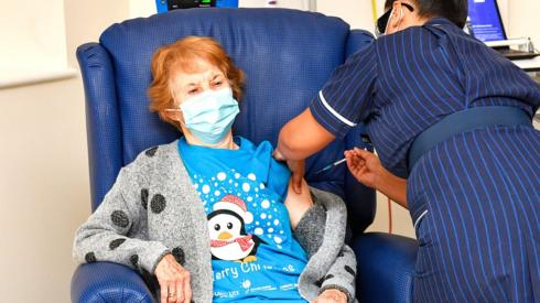 Margaret Keenan, 90, at University Hospital, Coventry - the first UK patient to receive the Pfizer/BioNtech Covid-19 vaccine - December 2020