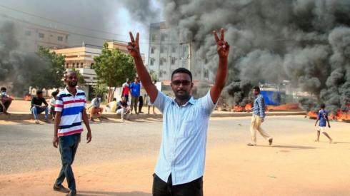 Protests against the military coup in Sudan.