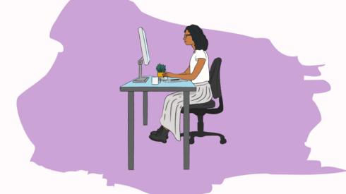 Illustration of a woman in an office