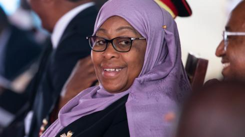 Tanzania's new President, Samia Suluhu, attends a service honouring President John Magufuli on 26 March 2021