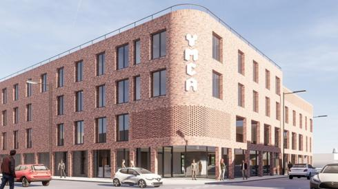 Computer-generated image of a YMCA building on Freeman Street