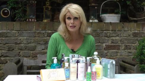 Joanna Lumley with a collection of Clarity products