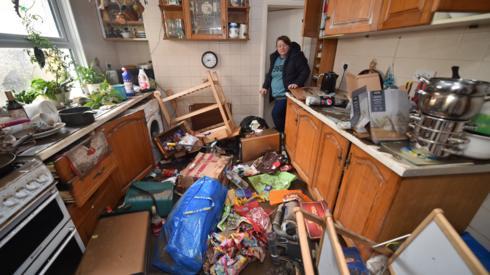 Inside a flooded house in Nantgarw