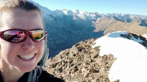 Selfie of Esther on mountain top