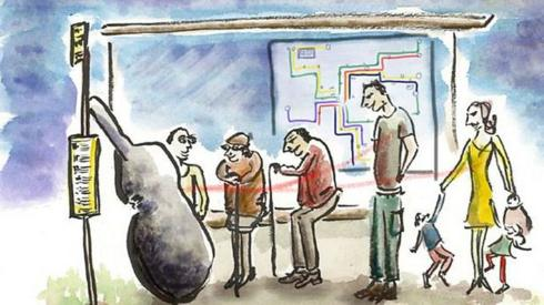 Illustration of passengers waiting at a bus stop