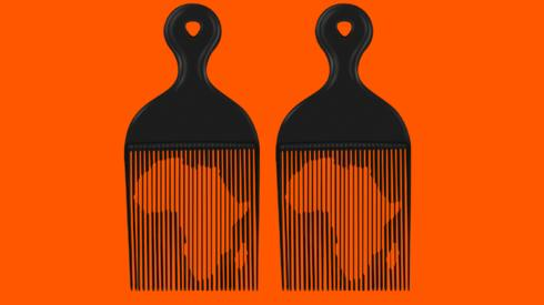 A graphic showing two combs with images of Africa visible behind them