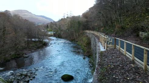 The newly opened path running alongside the river