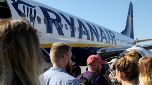 Ryanair plane and passengers