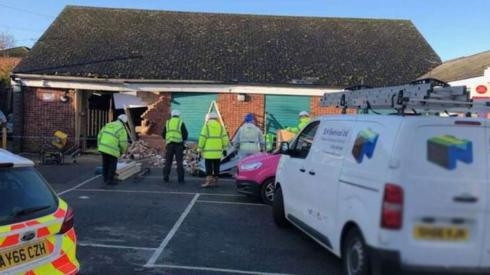 The hole left in the Debenham Co-op after the ram-raid