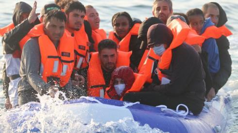 Migrants in boat in the English Channel