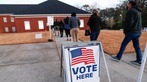 Voters queue in Marietta Georgia