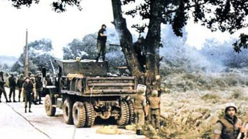 US troops chop down a tree in the Korean DMZ in August 1976