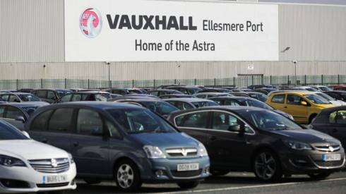 Vauxhall cars parked outside the Ellesmere Port plant.