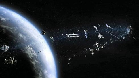 illustration of space debris in orbit