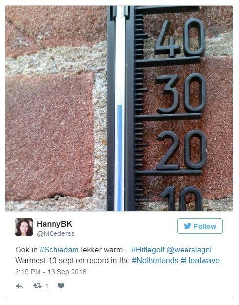 Hanny BK on Twitter: (Translated) Also in Scheidam, a warm heatwave. Warmest 13 September on record in the Netherlands.
