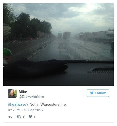 @DrawekimMike on Twitter: Heatwave? Not in Worcestershire. Photo: A bleak and rainy motorway.